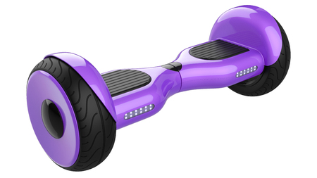 Purple HoverBoard, Close Up of Dual Wheel Self Balancing Electric Skateboard Smart Mini Scooter. 3d rendering of violet self-balancing board, isolated on white background