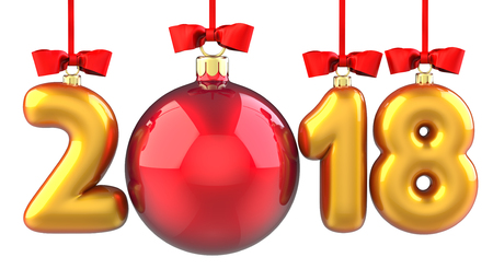 Happy New Year 2018 banner with red ribbon and bow. Text 2018 made in the form of a golden and red Christmas ball. 3D illustration of traditional festive Xmas bauble. Merry Christmas and Happy New Year greeting card design element