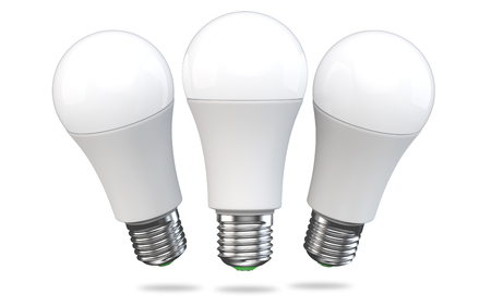 Set of LED light bulb isolated on white background. Realistic 3d rendering of energy super saving electric light-emitting diode lamp. Stock Photo