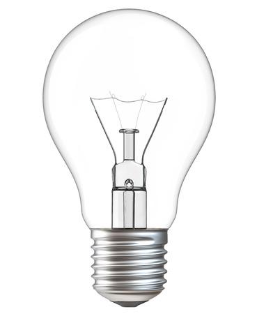 Illustration 3d der Glühlampe lokalisiert auf weißem Hintergrund. Realistische Wiedergabe 3d der Glühlampe mit Beschneidungspfad. Standard-Bild - 89319097