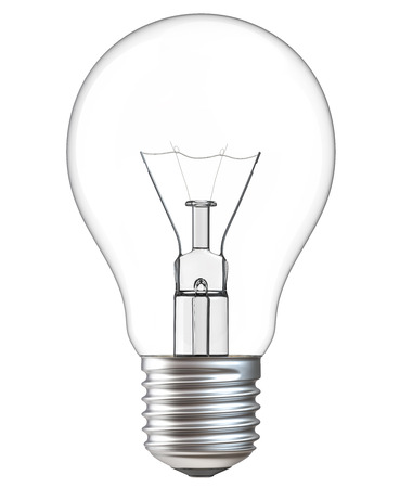 3d illustration of Light bulb isolated on white background. Realistic 3d rendering of incandescent lamp withe clipping path.