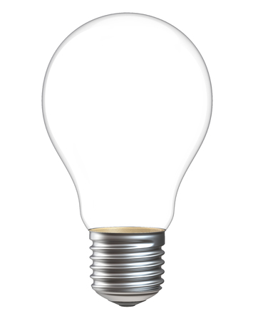 3d illustration of empty light bulb isolated on white background. Realistic 3d rendering of electric lamp without inside parts