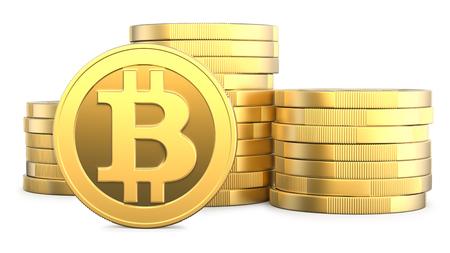 黄金 Bitcoins、新しい仮想お金の概念、白い背景で隔離 3 d レンダリング。アイコン b cryptocurrency のマイニングまたは blockchain の技術の 3 d イラストレ 写真素材