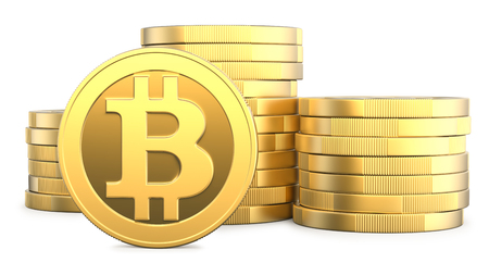 Golden Bitcoins and New Virtual money concept, 3d rendering isolated on white background. Stacks of many gold coins with icon letter B. 3d illustration of Mining or blockchain technology for cryptocurrency