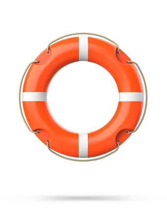 Top view of lifebuoy, isolated on a white background with shadow. 3d rendering of orange life ring buoy Stock fotó