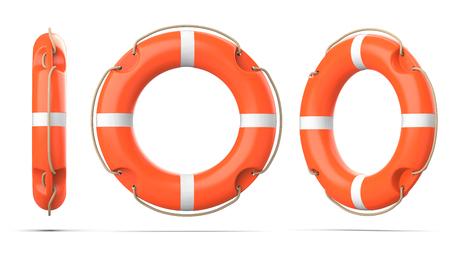 ライフブイの上、側面、パースビューは、影のある白い背景に隔離されています。3つのオレンジ色のライフリングブイの3Dレンダリングセット