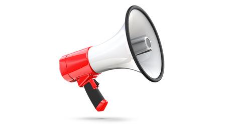Mégaphone rouge et blanc isolé sur fond blanc. Rendu 3D de Bullhorn, le fichier contient un chemin de détourage à isoler Banque d'images