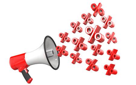 パーセント記号は、白い背景で隔離を赤いメガホンの 3 d レンダリングします。割引や販売の概念の 3 d イラストレーション。