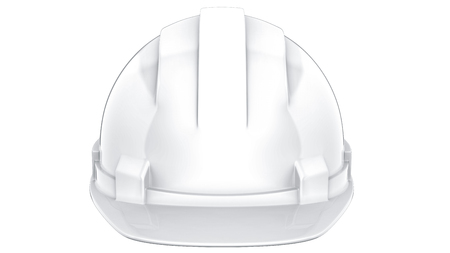 White construction helmet isolated on a white background. 3d rendering of engineering hat.