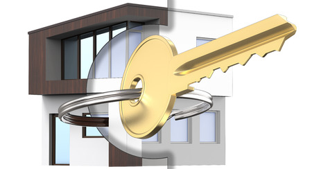 3D rendering mixed with the drawing and outline of the exterior of the house along with the gold key. As a symbol of your dream house design. Isolated on white background.