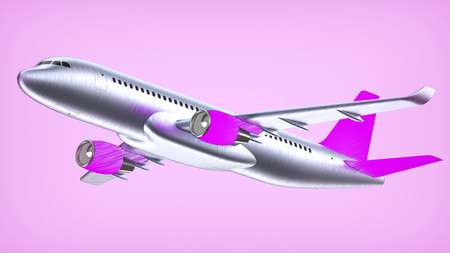 High detailed white airliner with a purple tail wing, 3d render on a white violet. Airplane Take Off, pop art 3d illustration. Airline Concept Travel Passenger plane. Jet commercial airplane Stock fotó