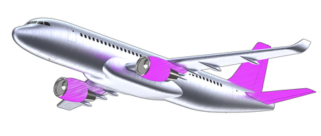 High detailed white airliner with a purple tail wing, 3d render on a white violet. Airplane Take Off, pop art 3d illustration. Airline Concept Travel Passenger plane. Jet commercial airplane Stock Photo