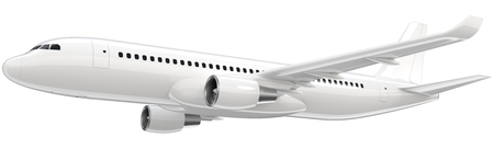 High detailed white airliner, 3d render on a white background. Airplane Take Off, isolated 3d illustration. Airline Concept Travel Passenger plane. Jet commercial airplane Stock fotó
