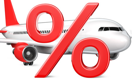 3D Percent or discount Symbol with the commercial airplane, passenger plane, Close-up 3D rendering isolated on white background. As a concept of discounts, sales, cheap air tickets and saving money