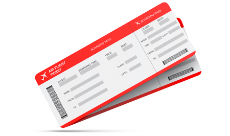 Two airline boarding pass tickets isolated on white. 3d rendering