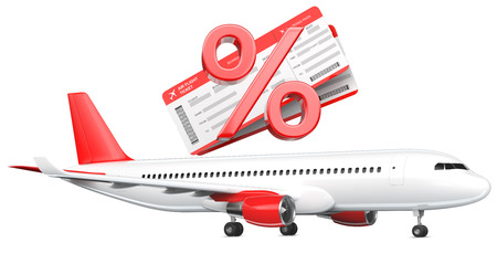 3D Percent or discount Symbol with airline boarding pass tickets over the commercial airplane, passenger plane, 3D rendering isolated on white background. As a concept of discounts, sales, cheap air tickets and saving money
