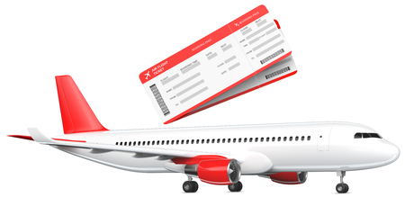 Commercial airplane, airliner with two boarding passes . Passenger plane with a red tail wing. 3D rendering isolated on white background
