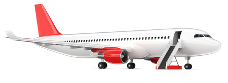 High detailed white airliner with a red tail wing, 3d render on a white background. Airplane with open boarding ladder, isolated 3d illustration. Airline Concept Travel Passenger plane. Jet commercial airplane