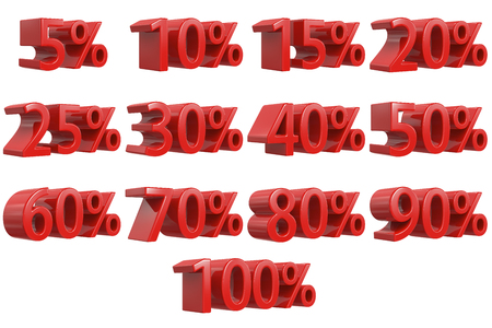 Discount Numbers 3d. Red Sale Percentage Icon Set, 3d rendering isolated on white background