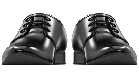 Front view of mens fashion shoes black, classic design. Pair of manly boots 3d rendering isolated on white background