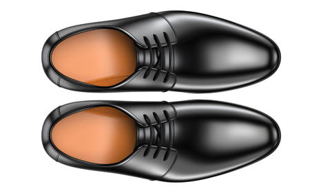 A pair of fashion elegant black mens shoes. 3d render of leather male boots isolated on white background. For advertising a Shoe store or for polishing cream and leather footwear care products