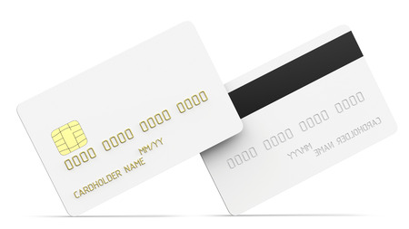 Debit plastic card or credit card, white with gold symbols. 3D render of blank white double-sided template for mock up and presentation design. Isolated on white background Stock fotó