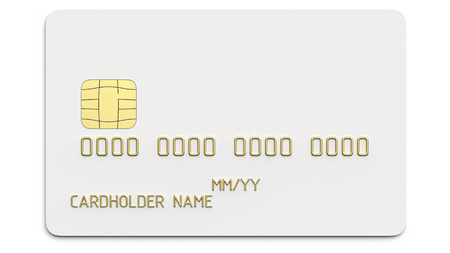 Debit plastic card or credit card, white with gold symbols. 3D render of blank white template for mock up and presentation design. Isolated on white background.