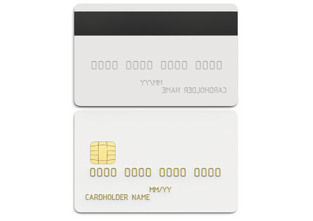 Front and back view of debit plastic card or credit card, white with gold symbols. 3D render of blank white template for mock up and presentation design. Isolated on white background.