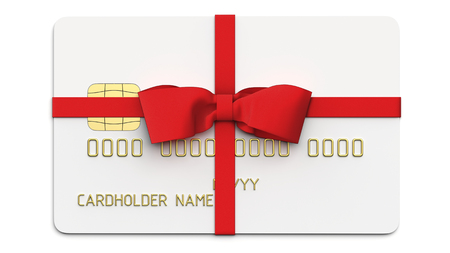 Debit plastic card or credit card, tied with a red bow and ribbons. 3D render of blank white template for mock up and presentation design. Isolated on white background. Stock fotó