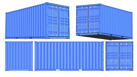 Blue Shipping Cargo Container Twenty feet. for Logistics and Transportation. Set of Front, back, side and perspective views. 3d Renderign Isolated on White Background.