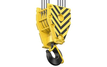 Big black and yellow construction towe crane hook block hanging on steel ropes. 3d render of overhead hookblock isolated on white background.