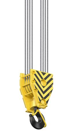 Big black and yellow construction towe crane hook block hanging on steel ropes. coverhead hookblock isolated on white background Stock fotó