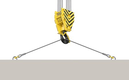 Abstract concrete slab hanging on a black and yellow construction towe crane hook block . 3d render of overhead hookblock with empty board isolated on white background.
