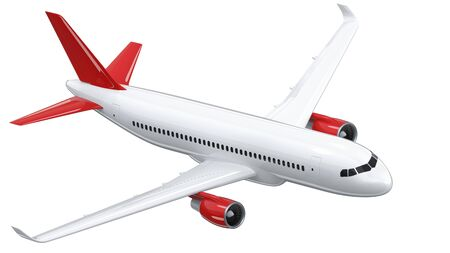 High detailed white airliner with a red tail wing, 3d render on a white background. Airplane makes a turn, isolated 3d illustration. Airline Concept Travel Passenger plane. Jet commercial airplane