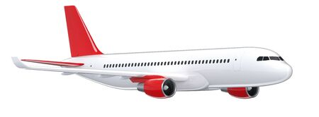 High detailed white airliner, 3d render on a white background. Side view of airplane, isolated 3d illustration. Airline Concept Travel Passenger plane. Jet commercial airplane
