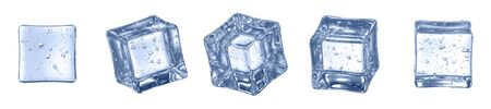 Set of Crystal Clear Artificial Acrylic Ice Cubes Square Shape. 3d render on a white background