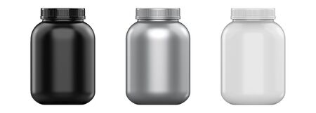3d rendering sport nutrition containers set without label. Whey protein and mass gainer white, silver, black plastic jar isolated on white background.