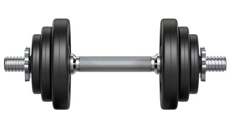 Black rubber metal Dumbbell with shadow. 3d rendering illustration isolated on white background. Gym, fitness and sports equipment symbol Stock fotó