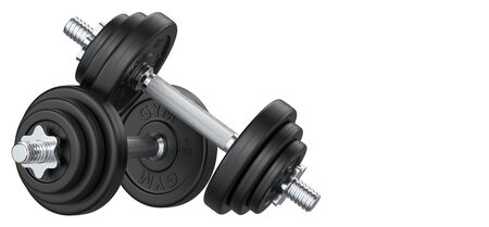 Two of black rubber metal Dumbbell with copy space. 3d rendering illustration isolated on white background. Gym, fitness and sports equipment symbol. Stock fotó