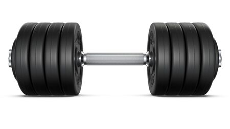 Huge heavy black dumbbell with shadow. 3d rendering illustration isolated on white background. Gym, fitness and sports equipment symbol.