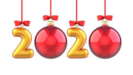 Happy New Year 2020 banner with red ribbon and bow. Text 2020 made in the form of a golden and red Christmas ball. 3D rendering illustration isolated on white background. Stock fotó