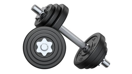 Pair of black rubber metal Dumbbell. 3d rendering illustration isolated on white background. Gym, fitness and sports equipment symbol.