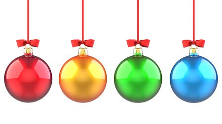 New year Set of red, yellow, green and blue Christmas balls with red ribbon and bow. 3D rendering illustration isolated on white background.