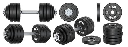 Big set of rubber metal Dumbbells and plate weight. 3d rendering illustration isolated on white background. Gym, fitness and sports equipment symbols collection.