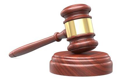 Martelletto in legno per avvocati, giudici di tribunale e vendita all'asta. Concetto del verdetto della corte di giustizia. Illustrazione di rendering 3D isolato su sfondo bianco