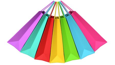 Realistic colorful paper shopping bags hanging in the air, isolated on white background. 3D rendering illustration of Multicolored empty shopping bags for retail and advertising design