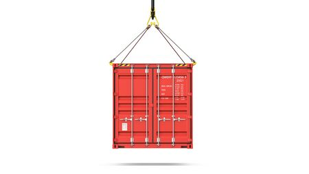 Front view of a red cargo container hanging on a crane hook for delivery and see transportation. 3d rendering Illustration of a shipping contaner Isolated on white background
