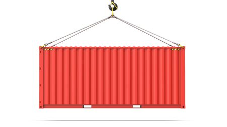 Side view of a red twenty feet cargo container hanging on a crane hook for Logistics and Transportation. 3d rendering Illustration of a shipping contaner Isolated on white background Фото со стока