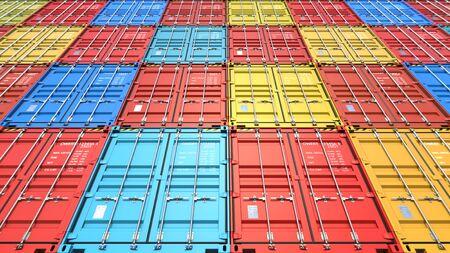 Stapel von Containern an den Docks von Cargo Frachtschiff für den Import-Export. 3D-Rendering Illustration Hintergrundansicht vom Boden aus