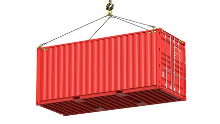 Red twenty feet cargo container hanging on a crane hook Isolated on white background. 3d rendering Illustration of a shipping contaner as a concept of import and export or moving